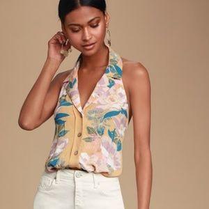 Offshore Yellow Floral Print Halter Bodysuit